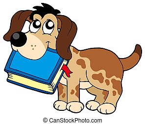 Dog holding book - isolated illustration.