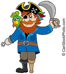 Pirate with parrot and sabre - isolated illustration