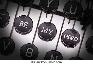 Typewriter with special buttons, be my hero