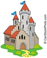Ancient medieval castle - isolated illustration