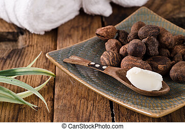 Shea nuts in a dish and spoon - Stil life of shea nuts and...