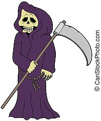 Cartoon grim reaper - isolated illustration.