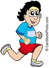 Cartoon running man - isolated illustration.