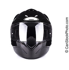 Black full face motorcycle helmet Isolated on a white...