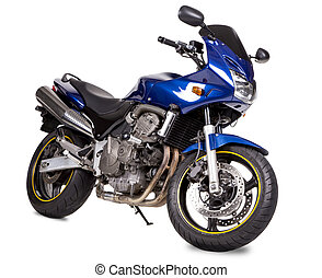 Blue powerful motorcycle. Isolated on a white background.