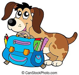 Dog with school bag - isolated illustration.