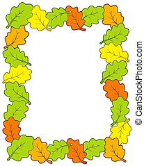 Frame from oak tree leaves - isolated illustration.
