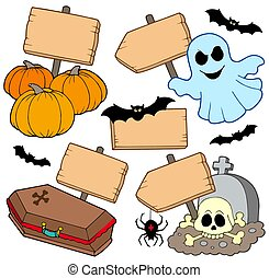 Halloween wooden signs collection - isolated illustration.