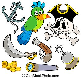 Pirate collection 9 on white background - isolated...