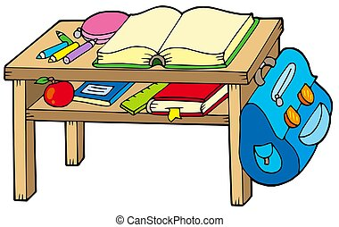 School table on white background - isolated illustration.