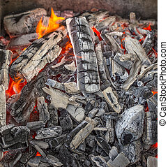 Red hot burning charcoal. - Close up of red hot burning...
