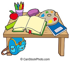School table 2 on white background - isolated illustration.