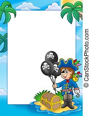 Frame with pirate boy - color illustration.