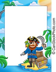 Frame with pirate on beach - color illustration