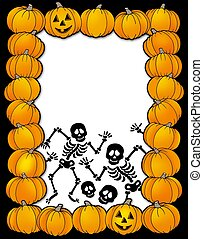 Halloween frame with skeletons - color illustration