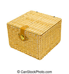 Rattan box - Square rattan box isolated included clipping...