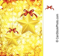 Christmas gold vector background with bow, stars and blurry light