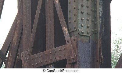 close up iron rivets railway bridge - close up - Iron rivets...