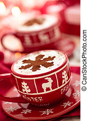 Cups with hot chocolate for Christmas day. - Christmas...
