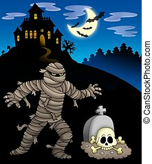 Mummy with haunted mansion - color illustration.