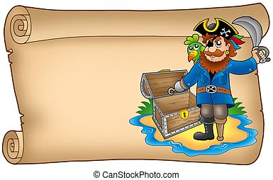 Old scroll with pirate - color illustration