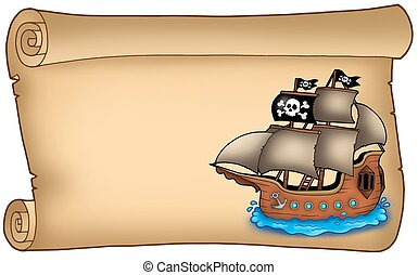 Old scroll with pirate ship - color illustration.