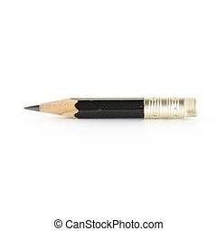 short black pencil on a white background