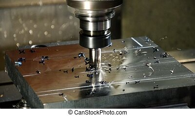 industrial details, milling machine in action