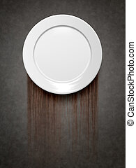 empty plate - An image of an empty plate on a metal...