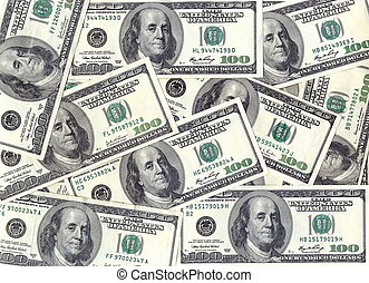 Banknotes - Background of the bills of $ 100 a continuous...