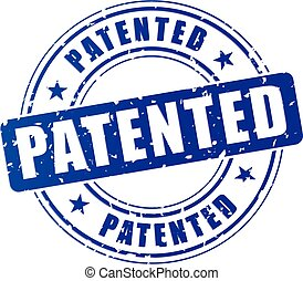 blue patented stamp - illustration of blue patented stamp on...