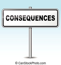 consequences sign - Illustration of consequences sign on sky...