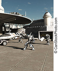 Battle Robots at the Spaceport - Science fiction...