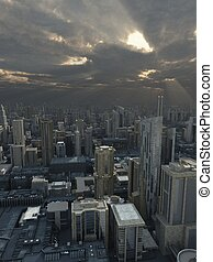Future City with Passing Storm - Science fiction...