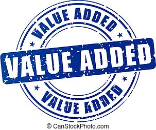 blue value added stamp - illustration of blue value added...