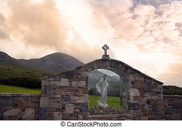 holy shrine at croagh patrick - glass holy shrine with...