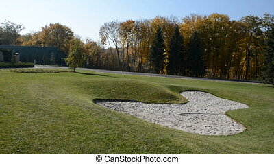 Panning of golf course in Mezhigirya, Ukraine. It is former...
