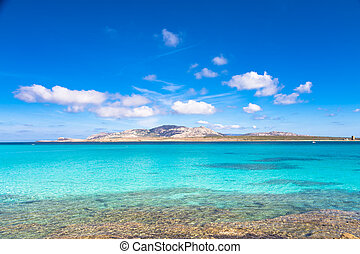 Pelosa beach, Sardinia, Italy - Beautiful turquoise blue...