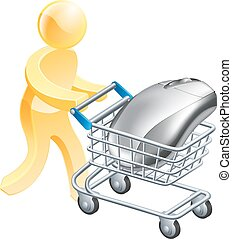 Internet online shopping concept - A man pushing shopping...