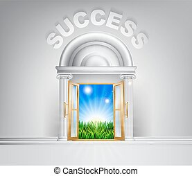 Door to Success concept - Success door concept. A conceptual...