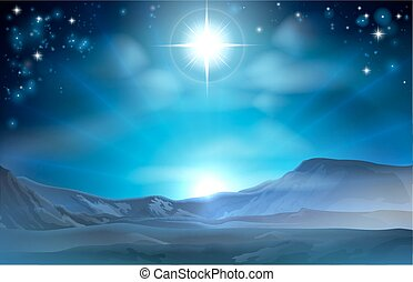 Christmas Nativity Star of Bethlehem illustration of the...