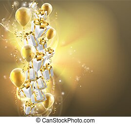 Gold balloons and gifts background - Abstract gifts or...