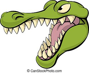 Alligator or crocodile cartoon character sports mascot head
