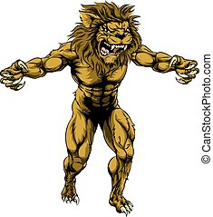 Lion scary sports mascot - An illustration of a Lion scary...