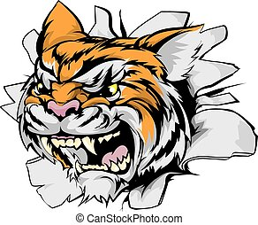 Attacking tiger head - Tiger sports mascot breakthrough...