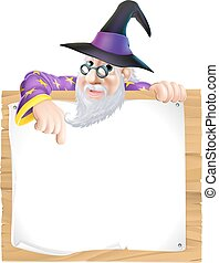 Wizard sign illustration, a cartoon wizard character...