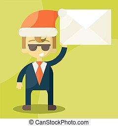 Happy businessman in Santa Claus hat. Good credit card
