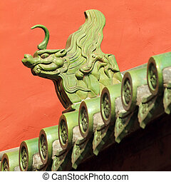 Chinese roof decoration - imperial dragon, representing the...
