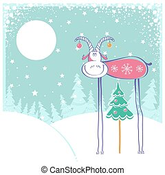 Christmas card with goat in winter landscape - Christmas...