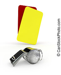 whistle and cards - Isolated illustration of whistle and...